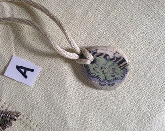 Porcelain necklace on silk kumihimo cord