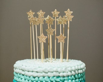 Gold Glittery Stars Cake Toppers - Perfect for a Princess Birthday Party, 1st Birthday, Baby Shower & More!