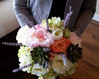 Garden Wedding Bouquet, Pastel Bouquet, Pastel Wedding Bouquet, Wedding Flowers, Garden Bouquet, Succulant Bouquet