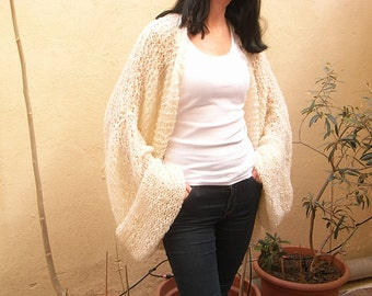 Beautiful cream long open Shrug - plus sizes 2X  3X  4X - Hand Knit   Spring   Summer  Autumn