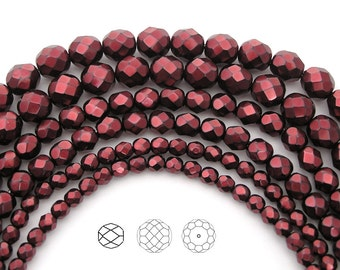 Czech Glass Fire Polished Beads in Carnelian Red Carmen Metallic Pearl, Faceted Pearls
