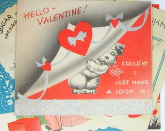 Vintage Happy Valentine's Day Assorted Greeting Cards, lot of 4, Mixed Media Art Junk Journal Scrapbook Collage Assemblage