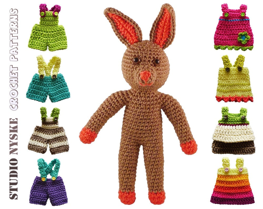 Amigurumi Clothes Pattern : Amigurumi PATTERN doll small stuffed animal rabbit by ...