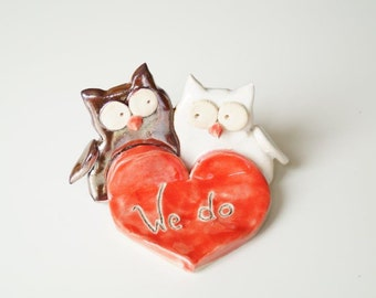 Unique Owls wedding cake toppers bride groom personalized elegant love birds  unique rustic country cute Wedding Cake Topper