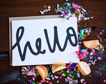 HELLO Screenprinted Flat Cards & Envelopes (Set of 5)
