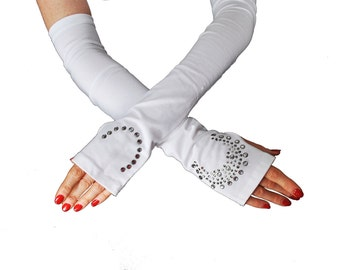 Super SALE! 50% off!  Fingerless gloves / SPF50+ / Excellent Sun protection /  Lab certified / soft cotton fabric / 2 colors