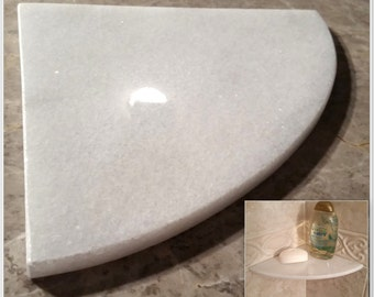 Marble Shower Corner Shelf Carrara Bianco 8 Natural by