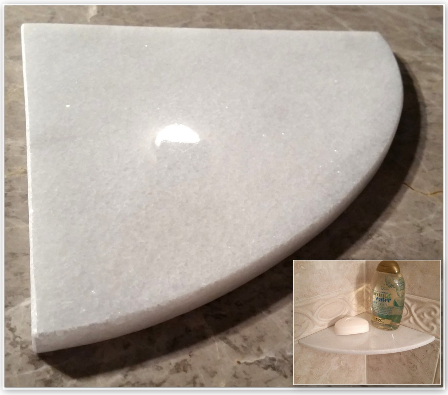 Marble Shower Corner Shelf Crystal Ice 8 Natural By Marblezone