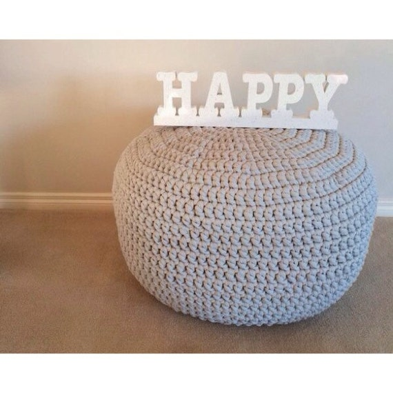 Handmade Crochet Pouf Ottoman Footstool by AshandKay on Etsy