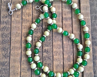 NECKLACE, JADE, EMERALD, Gemstones, Sterling Silver lobster claw clasp