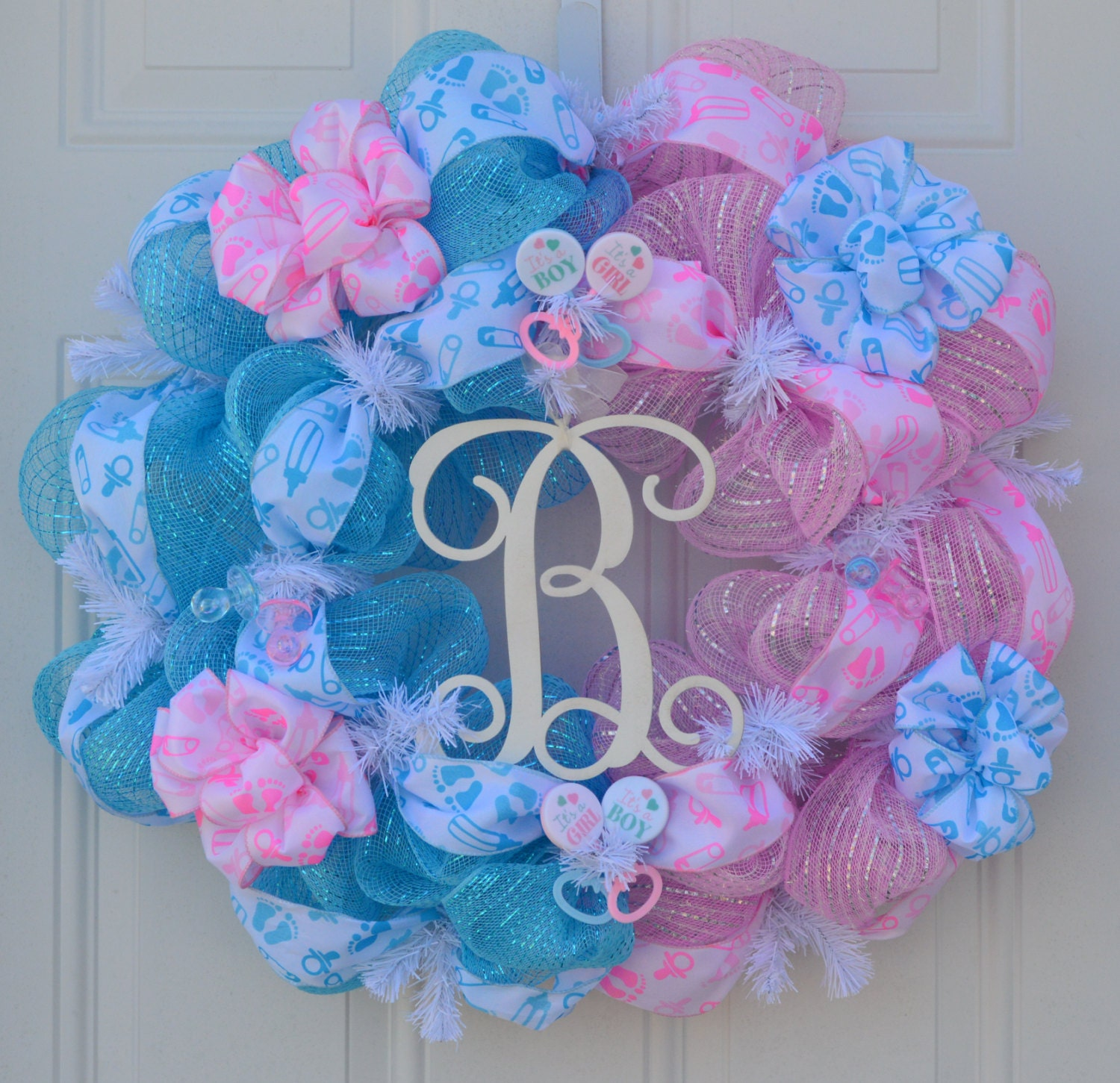 baby gender reveal wreath baby shower by welcomehomecreative