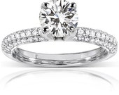 Round Moissanite & Micro-Pavé Diamond Engagement Ring in 14k White Gold (7.5mm)