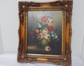 Original Painting of Flowers Oil on Canvas Ranunculus, Roses, Italian Artist G Lucini, 1940s
