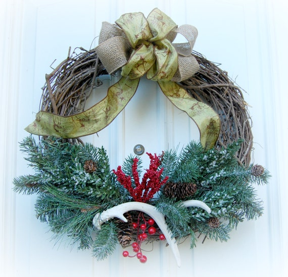 Items similar to rustic antler christmas wreath muletide for Antler christmas wreath