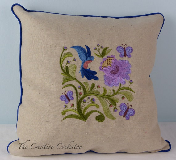 Ready Made Decorative Pillow Covers : hummingbird garden decorative pillow with Jacobean embroidery