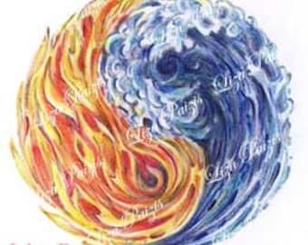 Fire Water Yin Yang tattoo design flames and waves tattoo by Liza Paizis