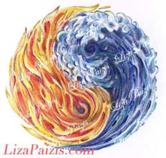 Fire water yin yang tattoo design flames and waves tattoo by for Fire and ice tattoo shop