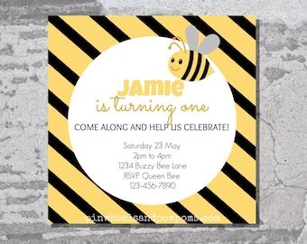Buzzy Bee Party Invitation - digital