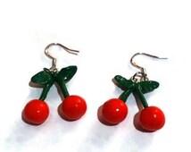 Cherry earrings Retro earrings Kitsch Earrings Kitsch jewelry Quirky earrings cherry jewellery Fruit Earrings Pinup earrings