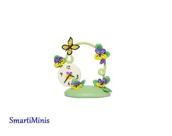 Miniature Pansy Butterfly Clock Artist Made OOAK SMARTI