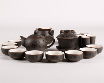 Hand Made Porcelain Tea Set with Chinese Characters Decal