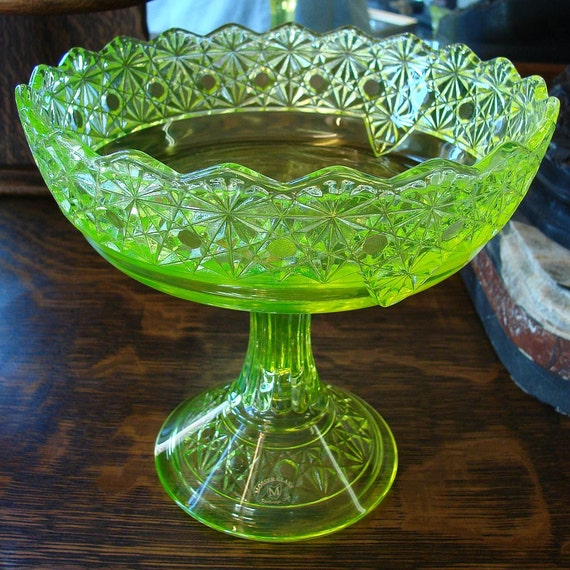 Dark Verdigris Green Ornate Pedestal Light: Vintage Vaseline Glass Large Compote Stunning Mosser Bright