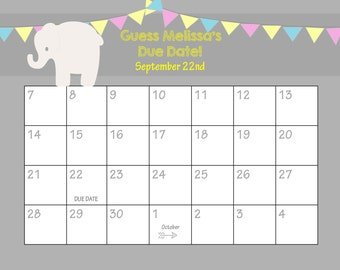 Printable Due Date Calendar // Baby Shower Game // Guess the Date ...