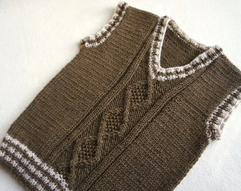 Children hand knitted wool vest, Knitted Baby/ Toddler Vest, Boy brown vest, Tank top for boy