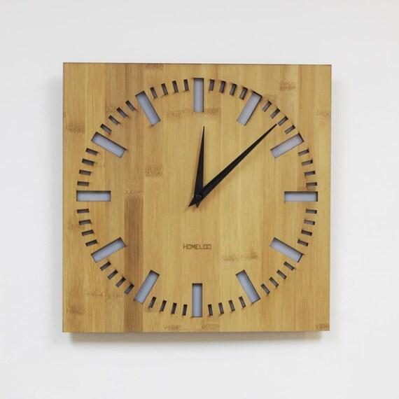 Modern Bamboo Wood Wall Clock Square Index