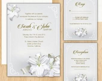 Elegant Lilies Wedding Invitation Package ***100 Printed***