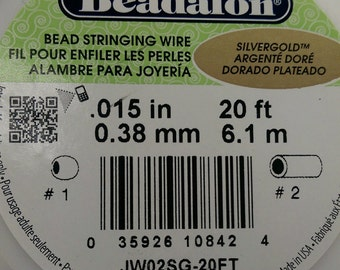 Sale 15% off~Beadalon 7 Strands Silver Gold  Bead Stringing Wire / .038mm / 20ft / .015in