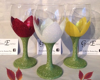 Two glittered flower glasses