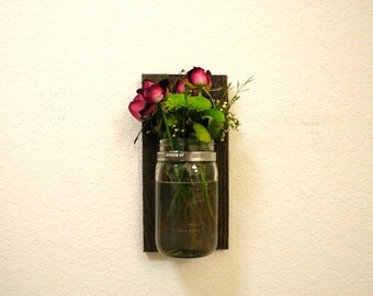 Reclaimed Wood Mason Jar Wall Vase. Home. Flowers. Rustic. Shabby Chic.