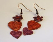 Double Heart Copper Enameled Dangle Earrings in Red and Violet Colors