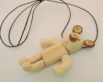 Wooden Pendant Necklace – Teddy Bear shape