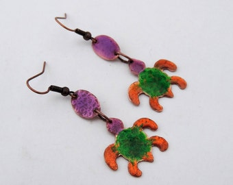 Turtle Copper Enameled Dangle Earrings in Green Orange and Violet Colors