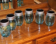 Set of 6 Hanging Blue Pint Size Mason Jar Solar Lid Light - Jars and Handmade Hangers Included