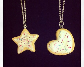 Heart biscuit cookie food charm necklace. Valentines day.