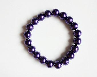 Shiny purple beaded power bracelet, Glass pearl stacking bracelet, elasticated bracelet, UK seller