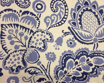 Modern Floral Fabric - Blue and White - Classic Blue - Upholstery Fabric By The Yard - Drapery Fabric By The Yard - Blue Pillow Fabric