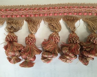Pink ad Gold Tassel Fringe-By The Yard - Home Decor Trim