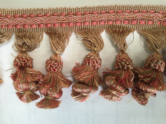 Pink And Gold Tassel Fringe-By The Yard Home Decor Trim