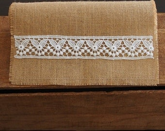 Rustic Burlap / Hessian and White Lace Table Runner in customised lengths