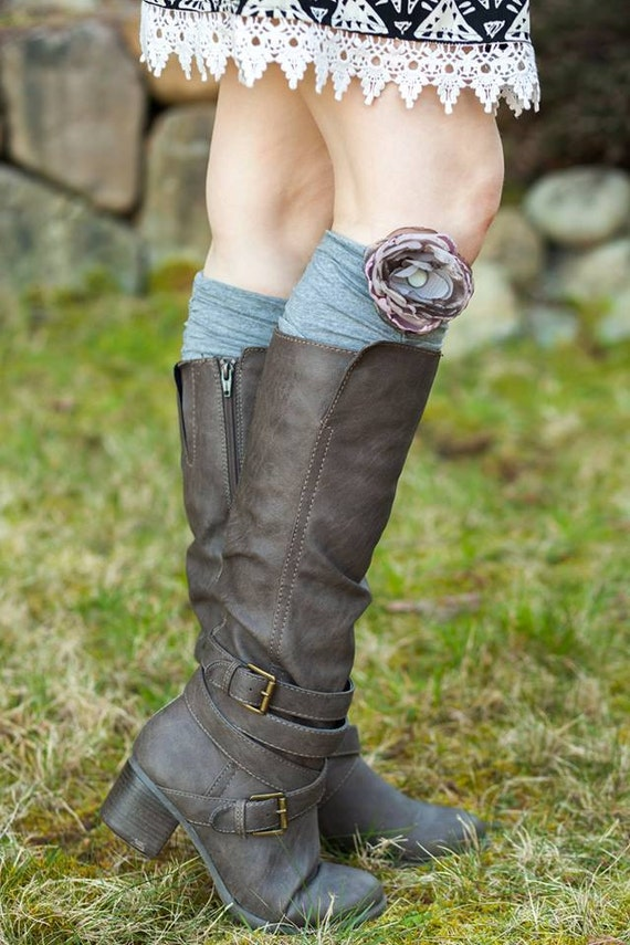 Grey ruched stretch jersey boot cuff with hand-crafted flower detail