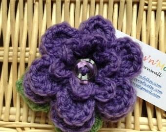 Hand Crocheted Flower Brooch Corsage in Purple