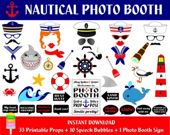 Sailor Photo Booth Props–44 Pieces(33 props,10 speech bubbles,1 photo booth sign)-Seaman,Nautical,Captain Photo Booth Props-Instant Download