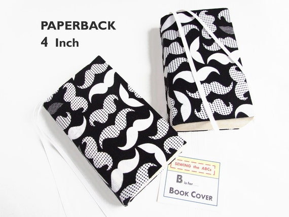 White Stretchable Book Cover : Stretch paperback book cover mustaches black white w