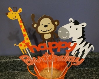 Four Piece Jungle Animal Centerpiece
