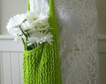 Market Bag, Knit Market Bag, Mesh Market Bag, Cotton Shopping Bag, Hand Knit Bag, Knit Market Bag, Farmers Market Bag, Lime Green Bag