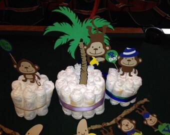 Monkey, Jungle, Baby Shower Centerpieces